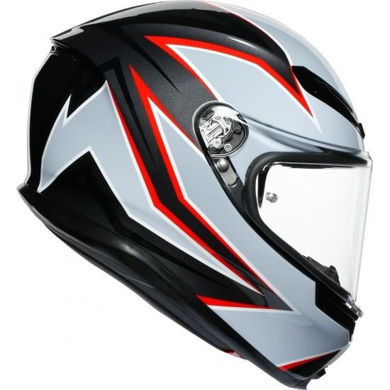 AGV K-6 Flash Matt Black Gray Red Full Face Helmet