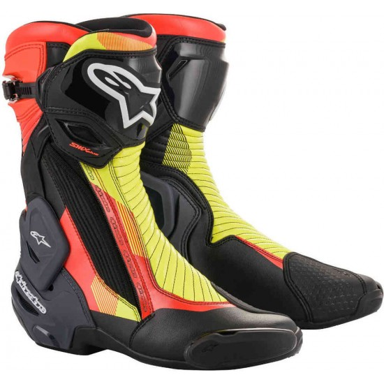 Alpinestars Smx Plus V2 Boots - Black Red Fluo Yellow Fluo Gry