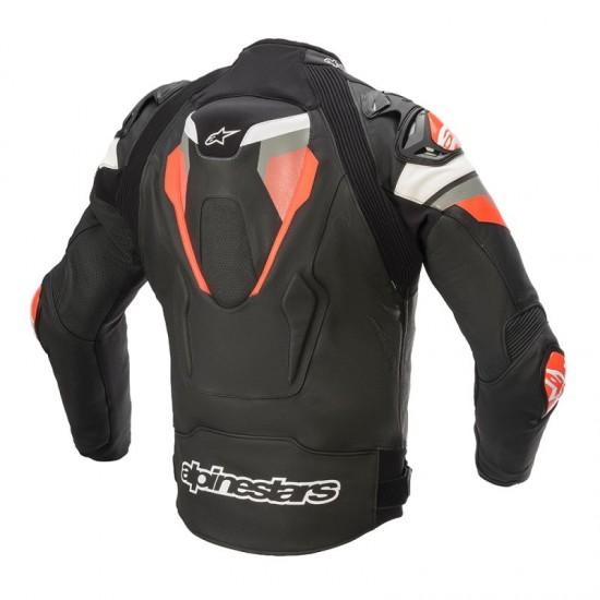 Alpinestars Atem V4 Leather Jacket - Black Mid Gray Red Fluo