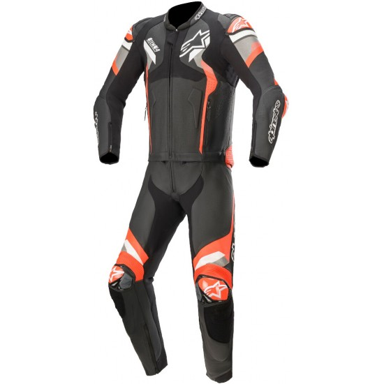 Alpinestars Atem V4 2PC Leather Suit - Black Mid Gray Red Fluo