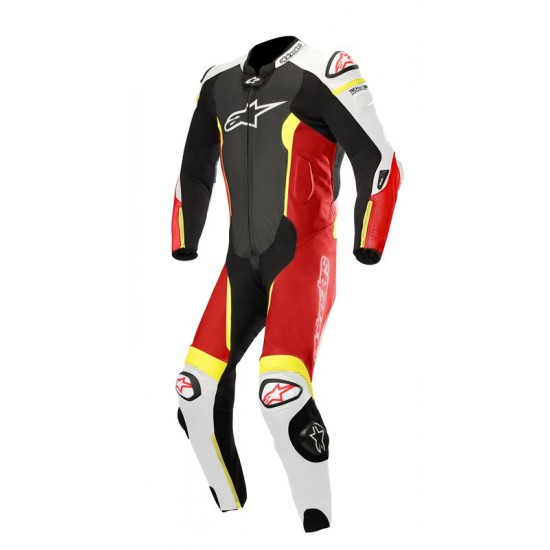 Alpinestars Missile Leather Suit 1 Pc-Tech-air Compatible - Black White Red Fluo Yellow