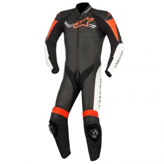 Alpinestars Challenger V2 1 Piece Leather Black White Fluo Red Suit