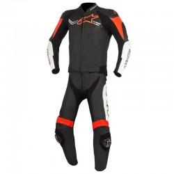 Alpinestars Challenger V2 2 Piece Leather Black White Fluo Red Suit
