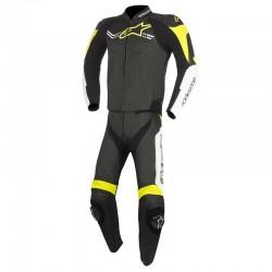 Alpinestars Challenger V2 2 Piece Leather Black White Fluo Yellow Suit
