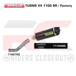 Arrow Race-Tech Carbon Silencer With Carbon Cap Exhaust Aprilia Tuono V4 / RSV4 MPN - 71627KZ + 71744MK