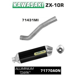 Arrow Race-Tech Aluminium Silencer Kawasaki Ninja ZX-10R MPN - 71431MI + 71770AON