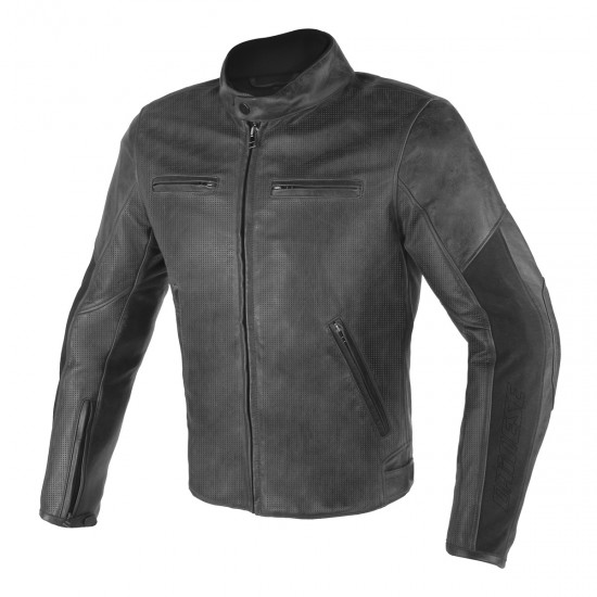 Dainese perforated Leather Jacket - Stripes D1 Black Black