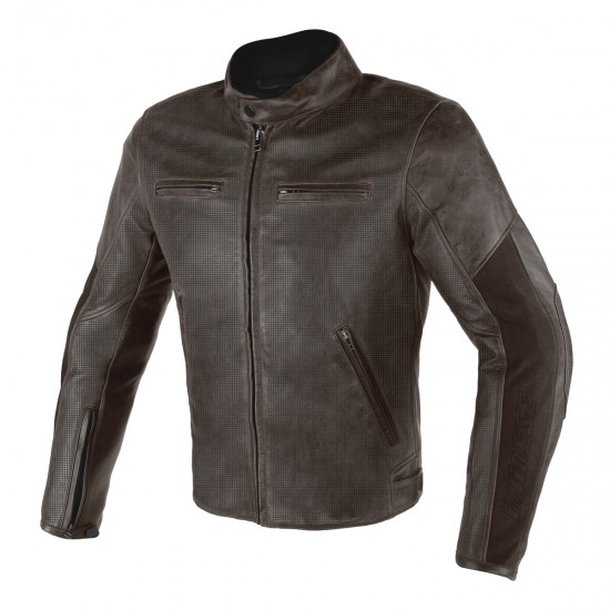Dainese perforated Leather Jacket - Stripes D1 Dark Brown Dark Brown