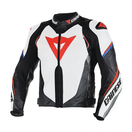 Dainese Perforated Leather Jacket - Super Speed D1 White Black Red