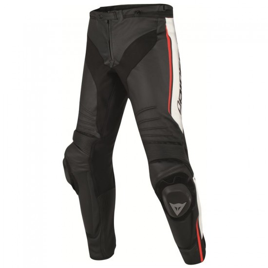 Dainese Perforated Leather Pants - Misano Black White Red