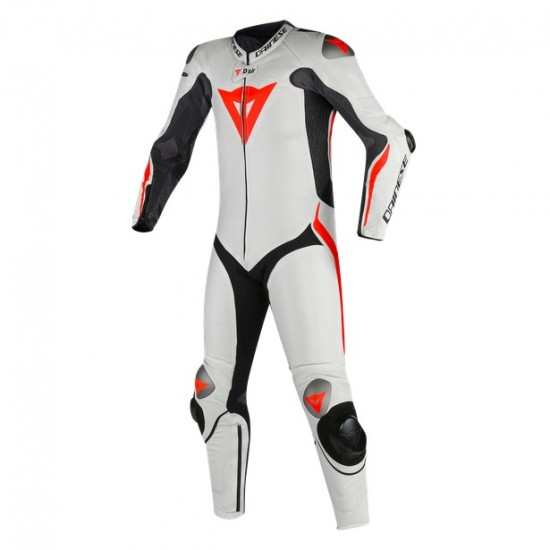 Dainese D-AIR Mugello R 1 PCS Leather Black White Fluo Red Suit