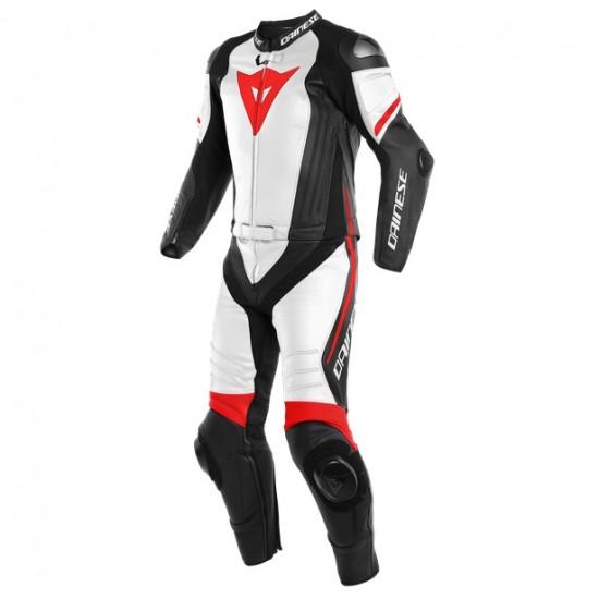 Dainese Laguna Seca 4 2PC Black-Matt White Fluo-Red Leather Suit