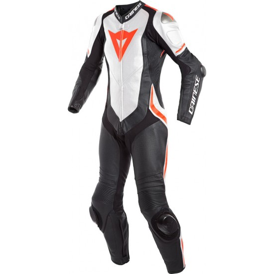 Dainese Laguna Seca 4 Perforated 1PC Lady Leather Black White Fluo-Red Suit
