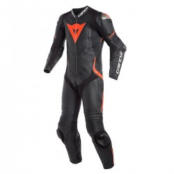 Dainese Laguna Seca 4 Perforated 1PC Leather Black Black Fluo-Red Suit