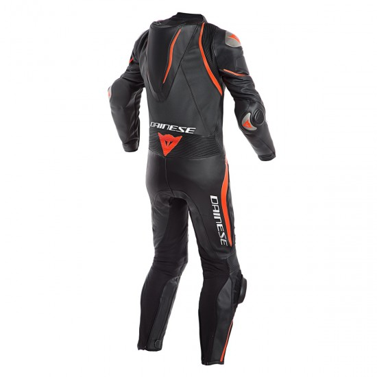 Dainese Laguna Seca 4 Perforated 1PC Black Black Fluo-Red Leather Suit