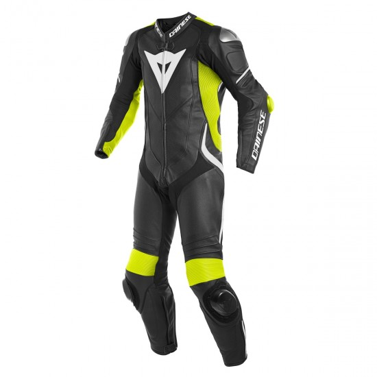 Dainese Laguna Seca 4 Perforated 1PC Black Fluo-Yellow White Leather Suit
