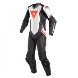 Dainese Laguna Seca 4 Perforated 1PC Leather Black White Fluo-Red Suit