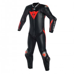 Dainese Mugello R D-Air 1PC Leather Black Black Fluo Red Suit
