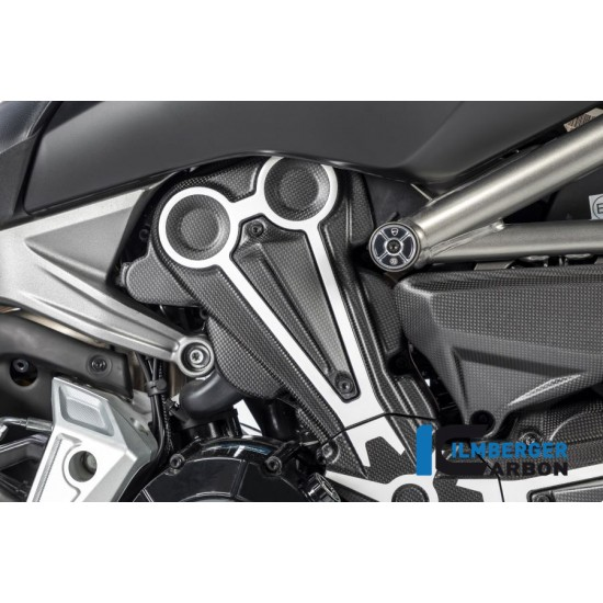 Ilmberger Carbon Cam Belt Covers Matt With Crome Ducati XDiavel / XDiavel S MPN - ZAO.199.XD16M.K