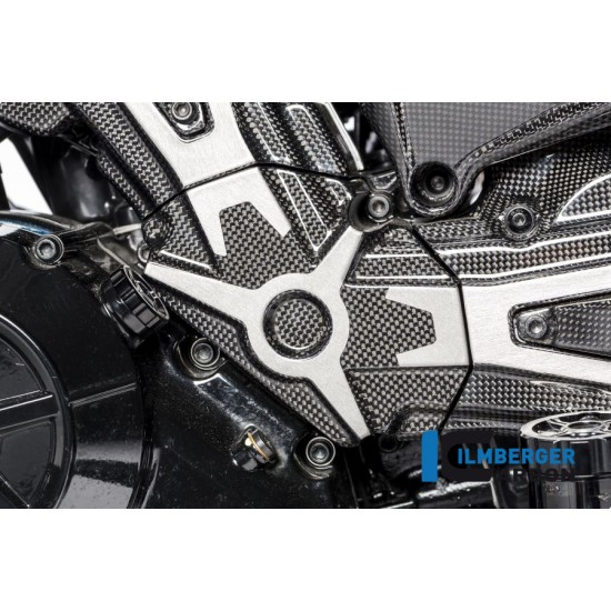 Ilmberger Carbon Cam Belt Covers Gloss With Crome Ducati XDiavel / XDiavel S MPN - ZAO.099.XD16G.K