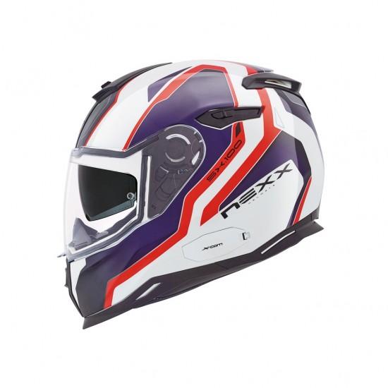Nexx SX.100 Blast White Red Blue Full Face Helmet