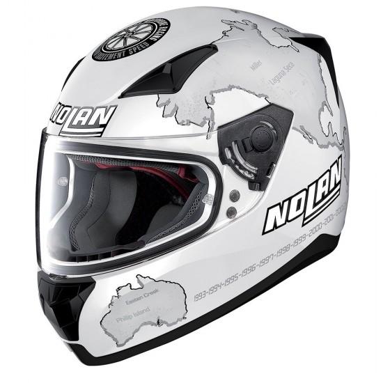 Nolan N60-5 Gemini Replica C Checa Flat White Full Face Helmet