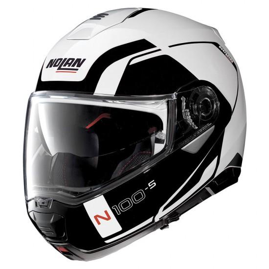 Nolan N100-5 Consistency N-Com Metal White Modular Helmet