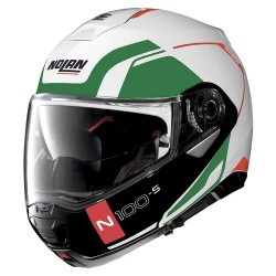 Nolan N100-5 Consistency N-Com Metal White Tricolor Modular Helmet