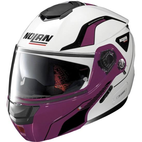 Nolan N90-2 Straton N-Com Metal White Violet Modular Helmet