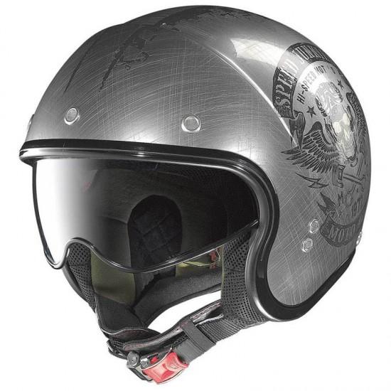 Nolan N21 Speed Junkies Scratched Chrome Jet Helmet