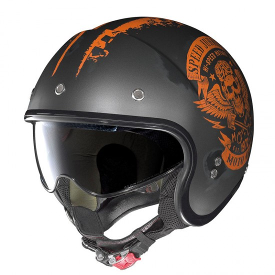 Nolan N21 Speed Junkies Scratched Flat Asphalt Black Orange Jet Helmet