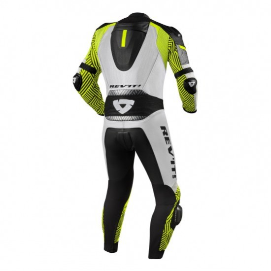Rev'it Triton One Piece Leather White Neon Yellow Suit