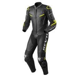 Rev'it Masaru One Piece Leather Black Neon Yellow Suit