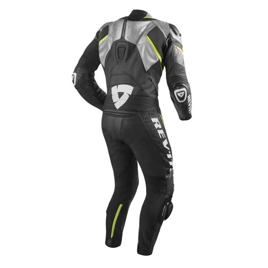 Rev'it Spitfire One Piece Leather Silver Neon Yellow Suit