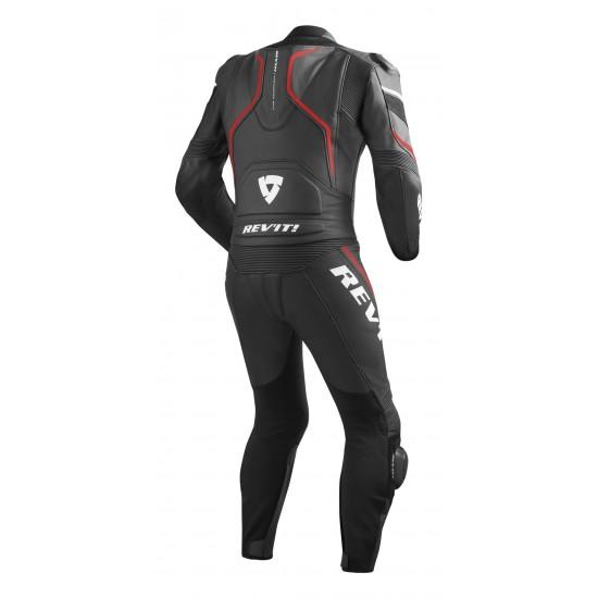 Rev'it Vertex Pro Combi Two Piece Leather Black Red Suit