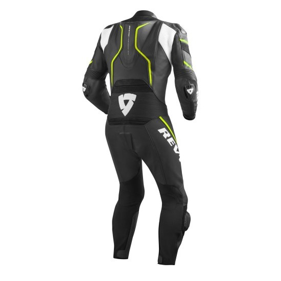 Rev'it Vertex Pro One Piece Leather Black Neon Yellow Suit