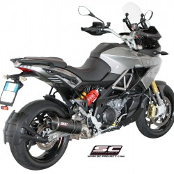 SC-Project Oval Silencer Black Stainless Aprilia Caponord 1200 MPN - A13-01O