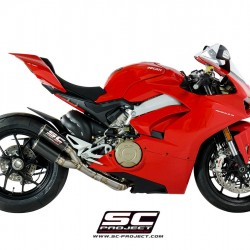 SC-Project 2-1-2 Exhaust System In Full Titanium And Twin CR-T Mufflers Carbon Ducati Panigale V4 MPN - D26-LTD36C