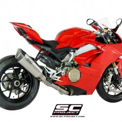 SC-Project 2-1 Exhaust System In Full Titanium And SC1-R – High Position Muffler Titanium Ducati Panigale V4 MPN - D26-HT91T