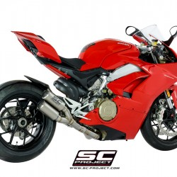 SC-Project 2-1-2 Exhaust System In Full Titanium And Twin CR-T Mufflers Titanium Ducati Panigale V4 MPN - D26-LTD36T