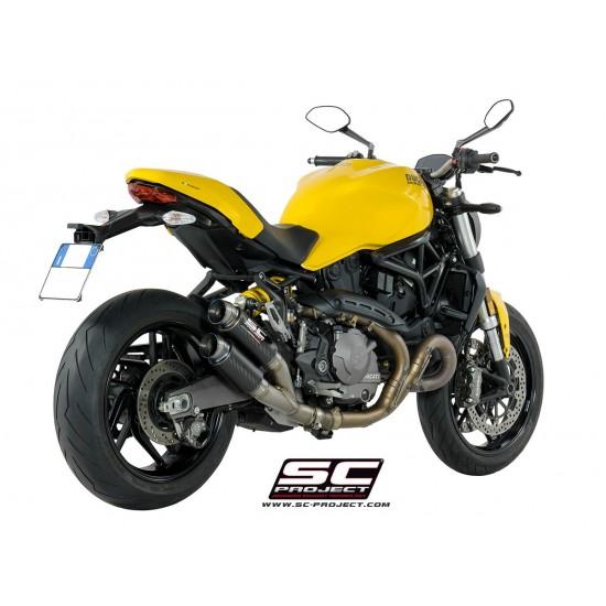 SC-Project Twin GP70-R Mufflers Carbon Ducati Monster 821 MPN - D25-DT70C