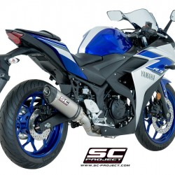 SC-Project Full System 2-1 With Oval Silencer Titanium Yamaha YZF-R3 2017-2018 MPN - Y23-C25T