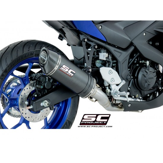 SC-Project Full System 2-1 With Oval Silencer Carbon Fiber Yamaha YZF-R3 2017-2018 MPN - Y23-C25C