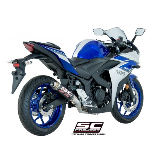 SC-Project Full System 2-1 With GP M2 Silencer Carbon Fiber Yamaha YZF-R3 2017-2019 MPN - Y23-C18C