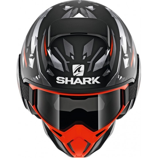 Shark Street Drak Kanhji Mat Black Orange Silver Open Face Helmet