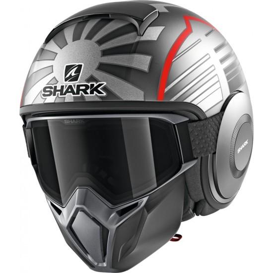 Shark Street Drak Replica Zarco Malaysian Gp Mat Anthracite Silver Red Open Face Helmet