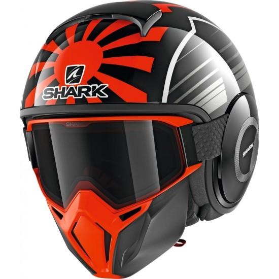 Shark Street Drak Replica Zarco Malaysian GP Black Orange Antraci Open Face Helmet