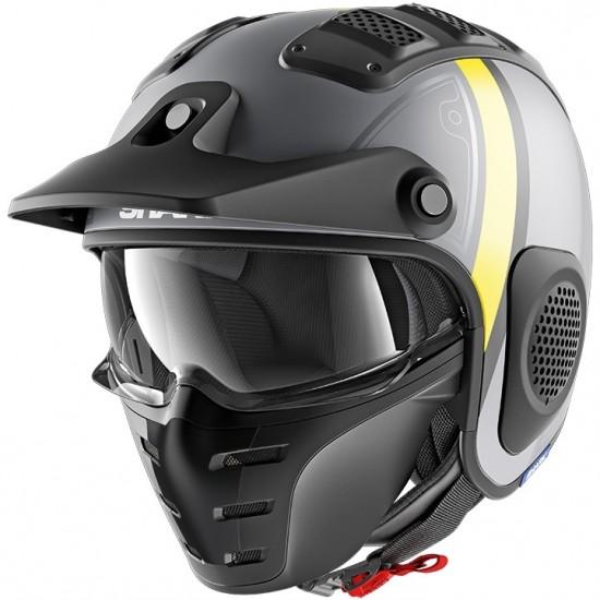 Shark X-Drak Terrence Mat Anthracite Yellow Open Face Helmet