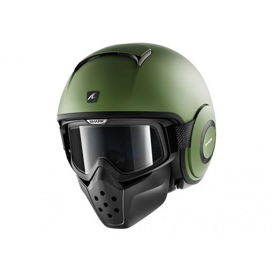 Shark Drak Blank Green Mat Open Face Helmet