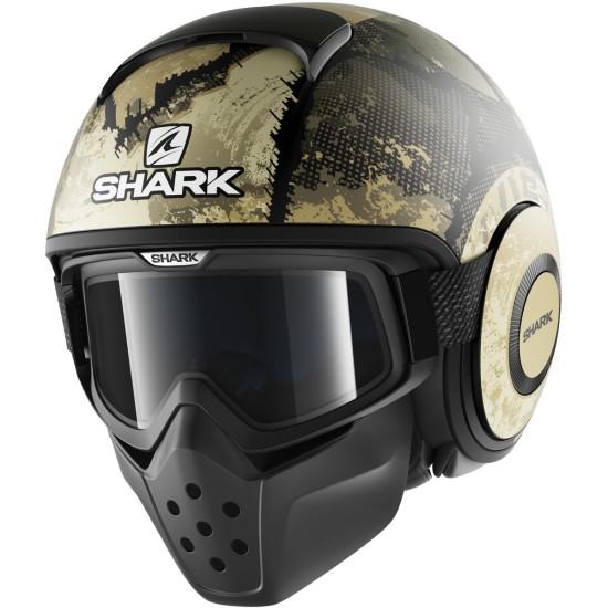 Shark Drak Evok Mat Black Green Silver Open Face Helmet